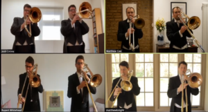 Picture showing trombone players over Zoom video conferencing