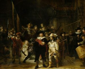 Painting by Rembrandt entitled The Night Watch showing guardsmen getting into formation, with a young girl in the foreground rumoured to be modelled on Rembrandt's late wife